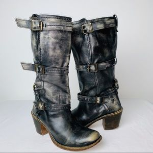 Frye Carmen 3 Strap Distressed Leather Moro Boot
